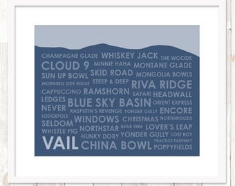 Vail, Colorado Ski Trails ~ Vail CO Art Print ~ Vail Colorado Print ~ Gift for Skier ~ Many Sizes Available ~ 18 Colors Available