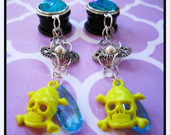 "Neon Steampunk Skull gear EAR PLUGS dangle earrings pick gauges - 2, 0, 00g, 7/16"", 1/2"", 9/16"", 5/8"", 11/16"" aka 6, 8, 10, 12, 14, 16, 18mm"