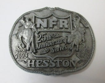 Vintage National Finals Rodeo 25th Anniversary Series Belt Buckle 1983 Hesston