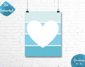 Heart and blue paint chip - Nursery poster - Pdf printable, DIY, wall art, inspirational decoration, motivational