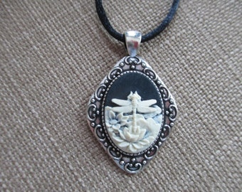 Cameo {Dragonfly Lotus} Pendant Necklace