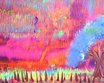 Secret Place, Neon Abstract artwork, Neon Scenery, Kitsch decor, Neon Room decor, giclee print 15 x 8.5 in