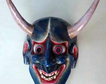 Wood Japanese Demon Mask: Oni Devil blue hand-carved wall hanging