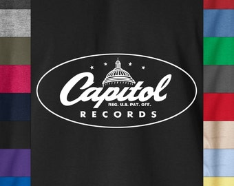 "CAPITOL RECORDS Soft Ringspun Cotton T-Shirt Vintage Rock Soul Boogie 12"" Rare"