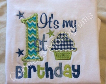 It's my First Birthday Applique with Cupcake on Tshirt or Bodysuit, Boys or Girls First Birthday Tshirt or Bodysuit