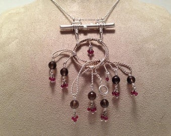 Smoky Quartz Garnet And Sterling Silver Rope Necklace