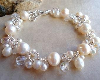 White Pearl Cluster Bracelet.Crystal.Wedding.Sterling Silver Plate.Beadwork.Bridal.Valentine.Birthday.Mother's.Prom.Dainty.Gift.Handmade.