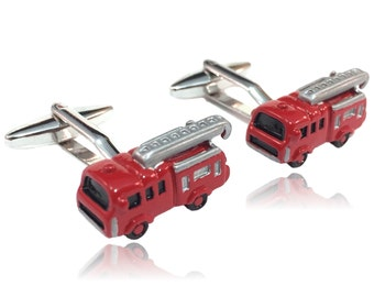 Red Fire Truck Silver Toned Cuff Links
