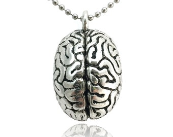 Anatomical Brain Necklace - Silver Toned