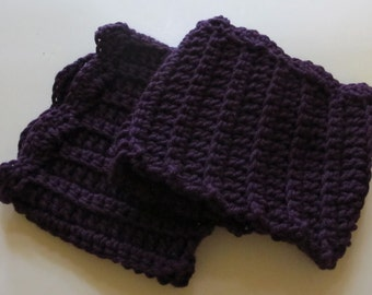 Crochet Boot Cuffs With Scallops in Eggplant Purple Ready to Ship