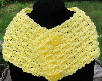Crochet Waffle Stitch Cowl Scarf Neckwarmer With Buttons In Yellow Ready to Ship