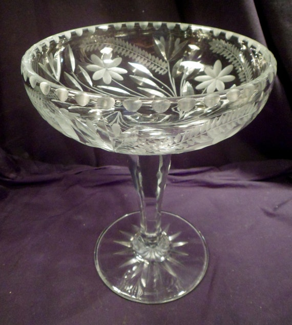 very large american brilliant period cut crystal compote