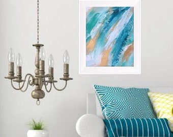Blue and gold painting turqoise painting abstract artwork blue and gold artwork blue abstract artwork ocean art sea painting storm painting