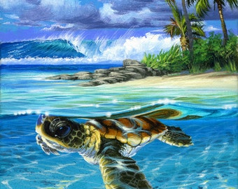 """Baby Sea Turtle """"Sandy"""" Ocean in the Island Collection"""
