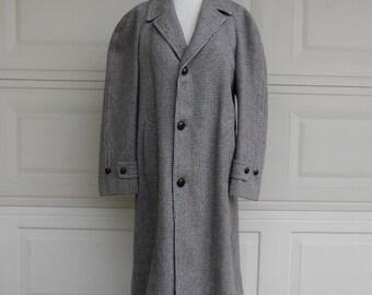 Vintage 1940's Men's Harris Tweed Wool Overcoat Size XL