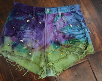 Vtg Denim Cut Off Shorts Denim Multi Color Tie Dyed Tye Dyed Studded Distressed Upcycled