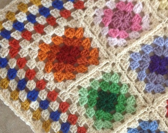 Crib Size Handmade Crocheted Stained Glass Window Granny Square Afghan Vintage