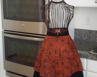 Fun orange and black halloween apron!