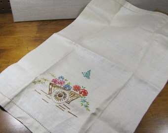 Embroidered Linen Tea Towel - Cart With Flowers