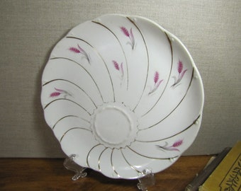 Yamaka Snack Plate - Pink Wheat - Gold Accent Swirl Pattern