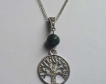 Tree Necklace , Tree Of Life , Tree Of Knowledge , Moss Agate Tree Necklace , Moss Agate Necklace , Handmade Gift , Wicca , Pagan , New Age