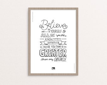 """Hand-lettering - Digital Printable - """"Believe in Yourself"""" Quote - 8x10 / A4 - Instant Download"""
