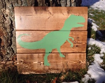 Dinosaur Shilouette in Green - Rustic Wood Sign - Medium Wood Stain