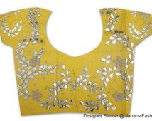 Handmade Gota Patti light work blouse on yellow dupin - readymade gota patti blouse, Sari Blouse - Saree Top - Sari Top - For Women