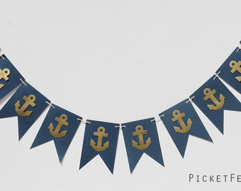 Navy and Gold Anchor Banner, Nautical Blue and Gold Banner, Nautical Nursery Decor, Nautical Baby Shower, Nautical Party, Blue and Gold