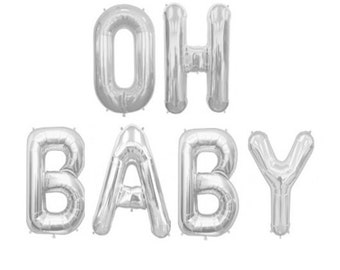 Small Silver OH BABY Balloons, Balloon Letters, Party Balloons,  Baby Shower, Baby Birth, Christening, Baptism, Kids Occasion