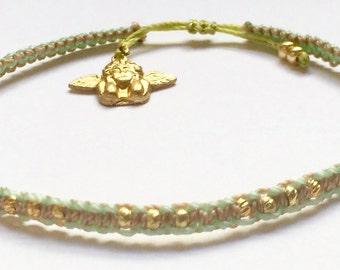 Simple angel charm friendship bracelet, beaded macrame, adjustable closure, customizable