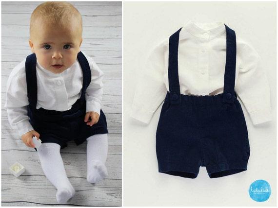 taufanzug baby jungen taufe blaue hose wei es leinenhemd. Black Bedroom Furniture Sets. Home Design Ideas