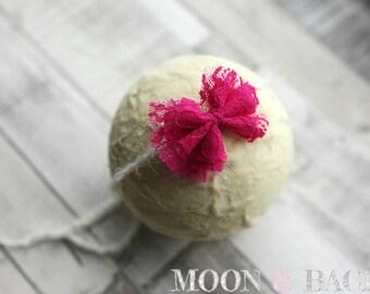 Handmade Cerise PInk Lace Bow Tieback Headband Newborn Photo Photography Prop