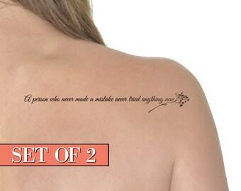 Temporary Tattoo Einstein Quote - Floral, Albert Einstein, Black - NO. D14