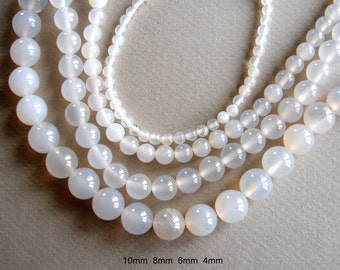SALE. Natural Light Gray Agate Beads, Round, Size:4mm, 6mm,8mm,10mm, Hole 1mm, Length Approx 15 Inch