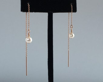Dainty Rose Gold Earrings, Rose Gold Threader Earrings, Rose Gold Chain Earrings, Real Pearl Earrings, Rose Gold Ear Chains