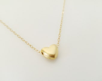 Silver Heart Necklace , Layering Necklace , Gold Heart Necklace , Heart Charm Necklace , Tiny Heart Necklace Gold Heart Necklace