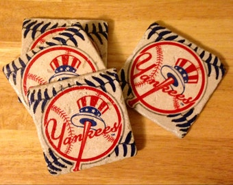 New York Yankees Coasters ~  Set of 4 Stone Coasters ~ Yankees Coasters ~ Natural Stone Tile Coasters ~ Baseball Coasters