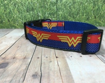 "The Angel | Designer 1"" Width Dog Collar | CupcakePups Collars | Wonder Women - Medium/Large Dog Collar"
