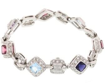 Asprey 18k White Gold Diamond Colored Stone Bracelet