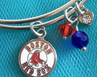 Red Sox bracelet; Red Sox charm bracelet; Boston bracelet; Boston charm bracelet; baseball bracelet; MLB bracelet; baseball charm bracelet