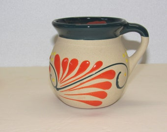 Mexican Mugs Green & Orange Terracotta Traditional Cups