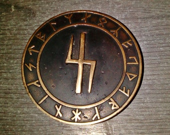 Wolfsangel bronze belt buckle with futhark