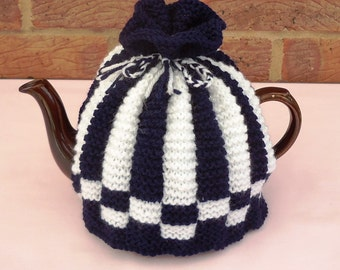 Hand Knitted Tea Pot Cover ( Navy and White )