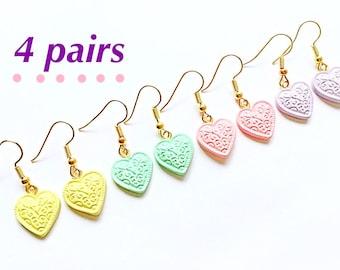 4 pairs pastel earrings Pastel jewelry Pastel fashion Kawaii Harajuku style earrings Cute heart earrings Pink pastel purple green pastel