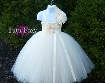 Ivory Flower Girl Tutu Dress, Ivory Flower Girl Dress, Ivory Dress, Flower Girl Dress, Ivory Empire Waist Flower Girl Dress