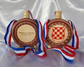 Croatian Cuturica, Size M, Old Grb, Wooden Flask, Customized for your Wedding