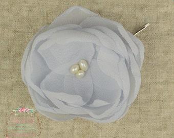 Silver Hair Flower - Grey Hair Flower - Grey Bridesmaids - Grey Flower Girls - Grey Wedding - Silver Wedding - Grey Flower Brooch -Grey Clip