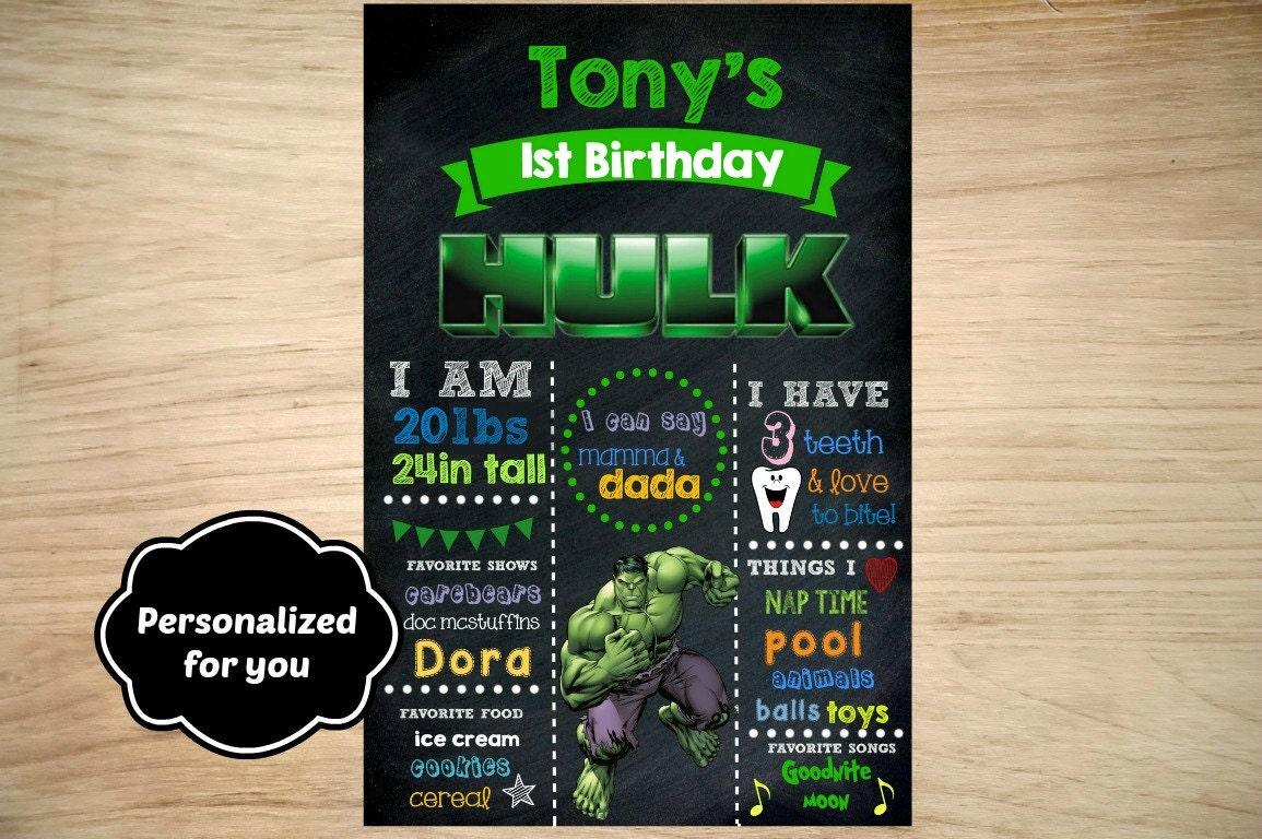 Hulk Geburtstag Schild Hulk Geburtstag Geburtstag Zeichen