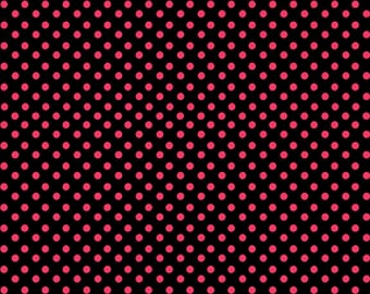 On The Dot Cherries Jubilee Red Black Dot Fabric from Benartex By the yard